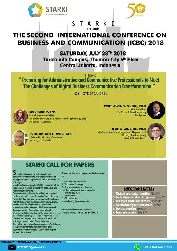 Call Paper : ICBC 2018