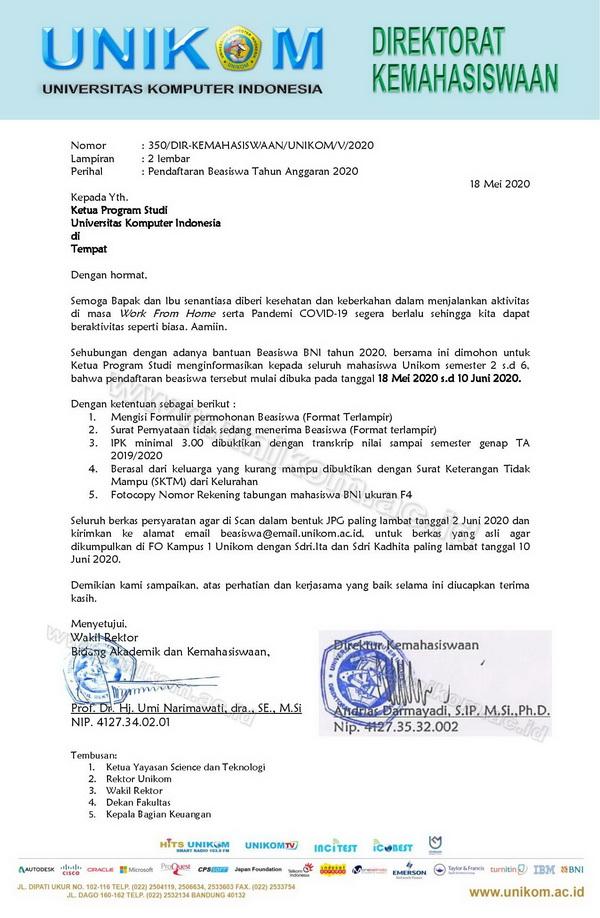 Informasi Beasiswa BNI - Unikom Tahun 2020