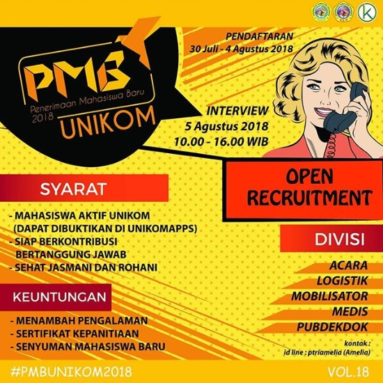 Open Recruitment Panitia PMB Unikom TA 2018/2019