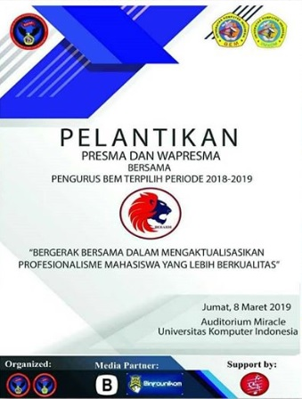 Pelantikan Presma, Wapresma, dan Pengurus BEM Unikom Periode 2018-2019