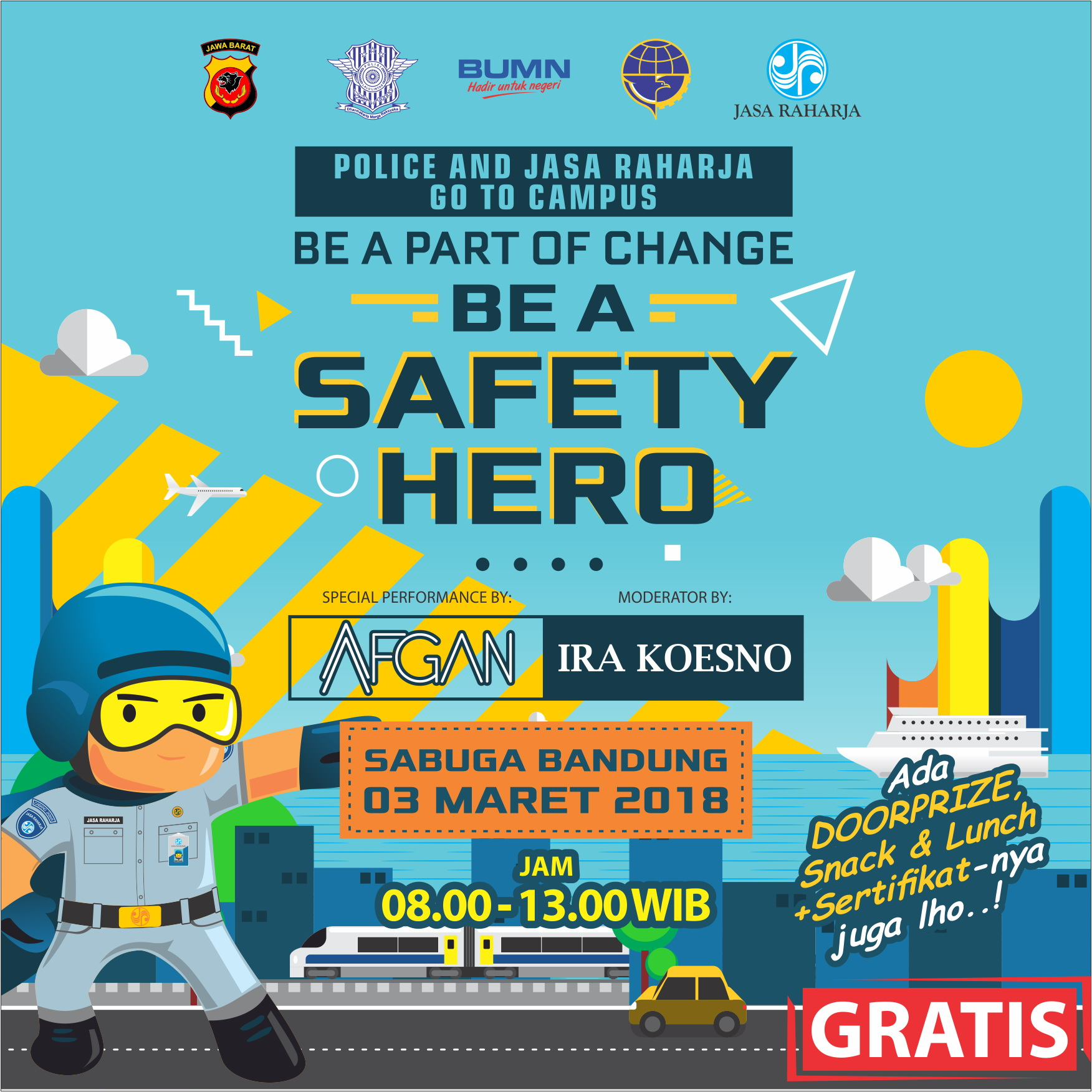 Police and Jasa Raharja Go To Campus Be A Part Of Change Be A Safety Hero