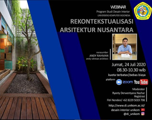 Webinar Rekontekstualisasi Arsitektur Nusantara - Prodi Desain Interior Unikom